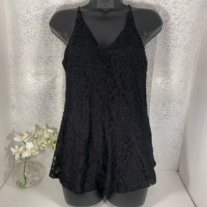 Love J Black Lace Sleeveless Blouse